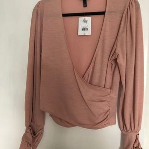 Topshop cropped wrap top with long sleeves